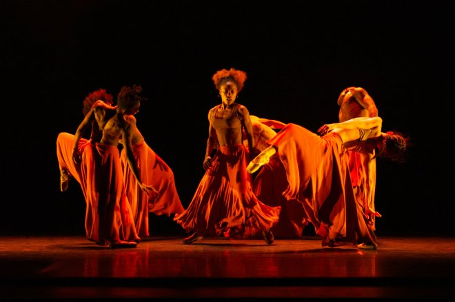 Ballet Black company performing Washa: The Burn From The Inside by Mthuthuzeli November